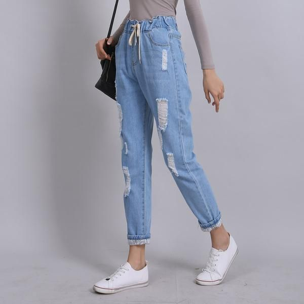 Elastic Waist Ripped Jean Jeans Reemyu Denim Women Pants Women Fashion Ripped Boyfriend Jeans