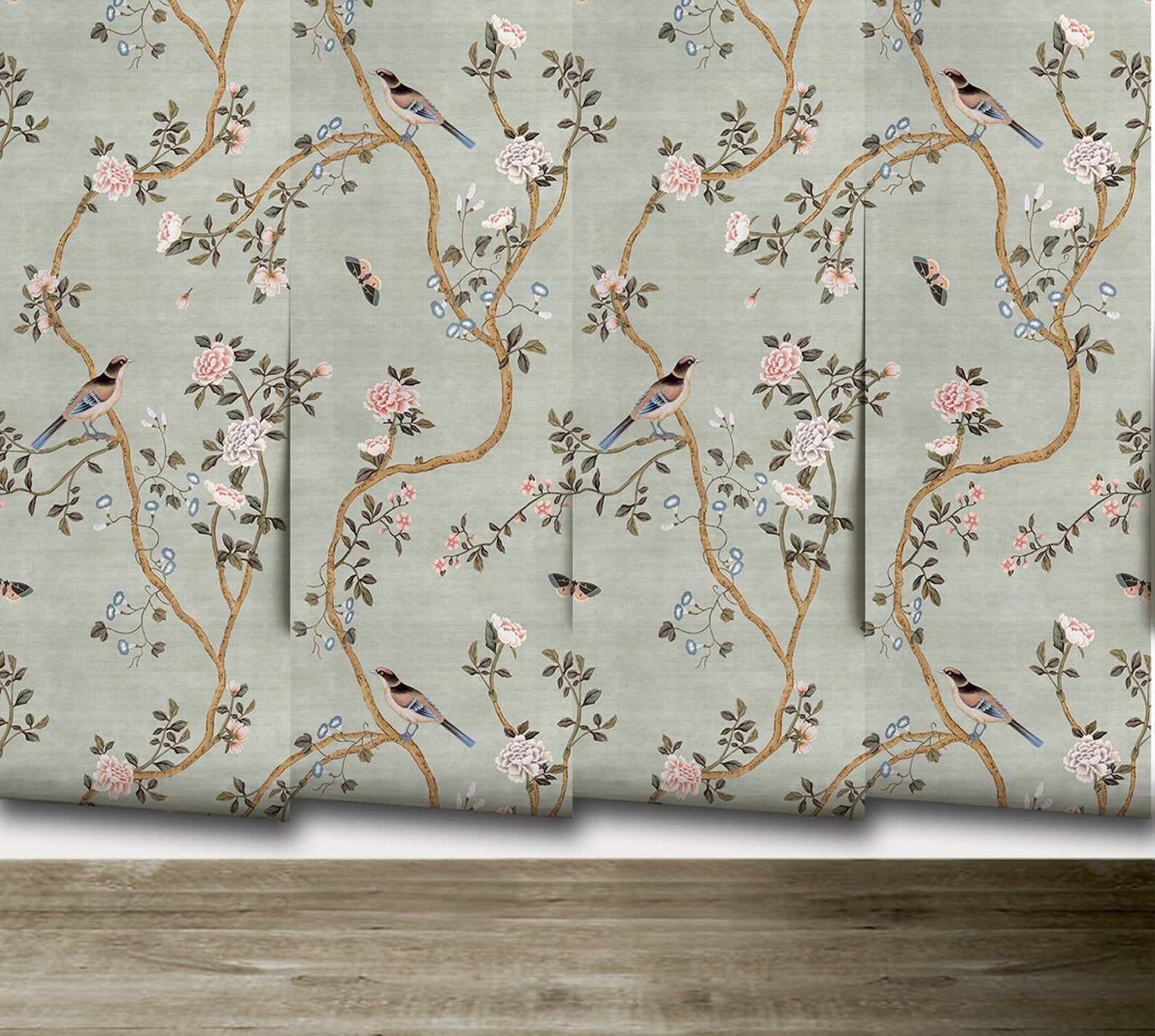 New Avignon Chinoiserie Peel N Stick Or Prepasted Etsy In 2021 Chinoiserie Vintage Bird Wallpaper Chinoiserie Wallpaper