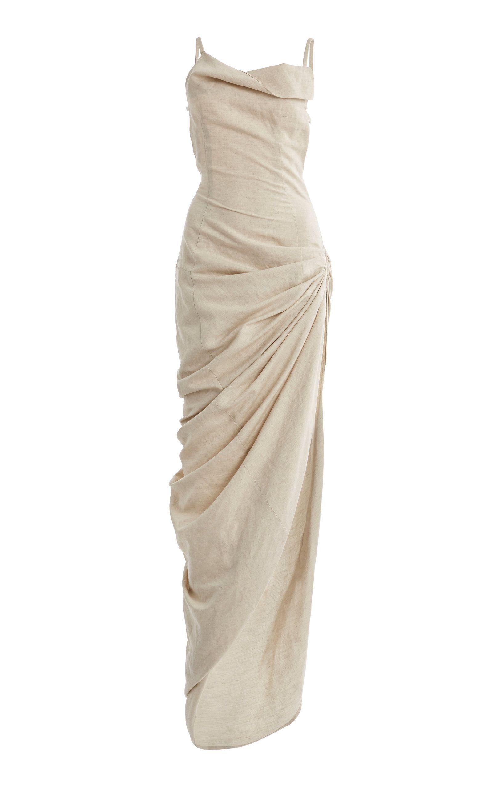 Saudade Gathered Cotton-Blend Maxi Dress by JACQUEMUS Now Available on Moda Operandi