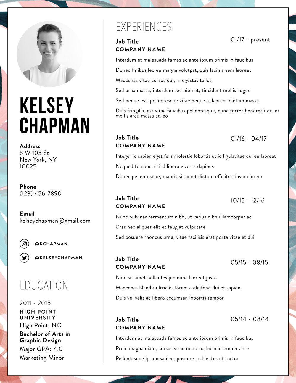 Résumé + Cover Letter Templates Resume design creative