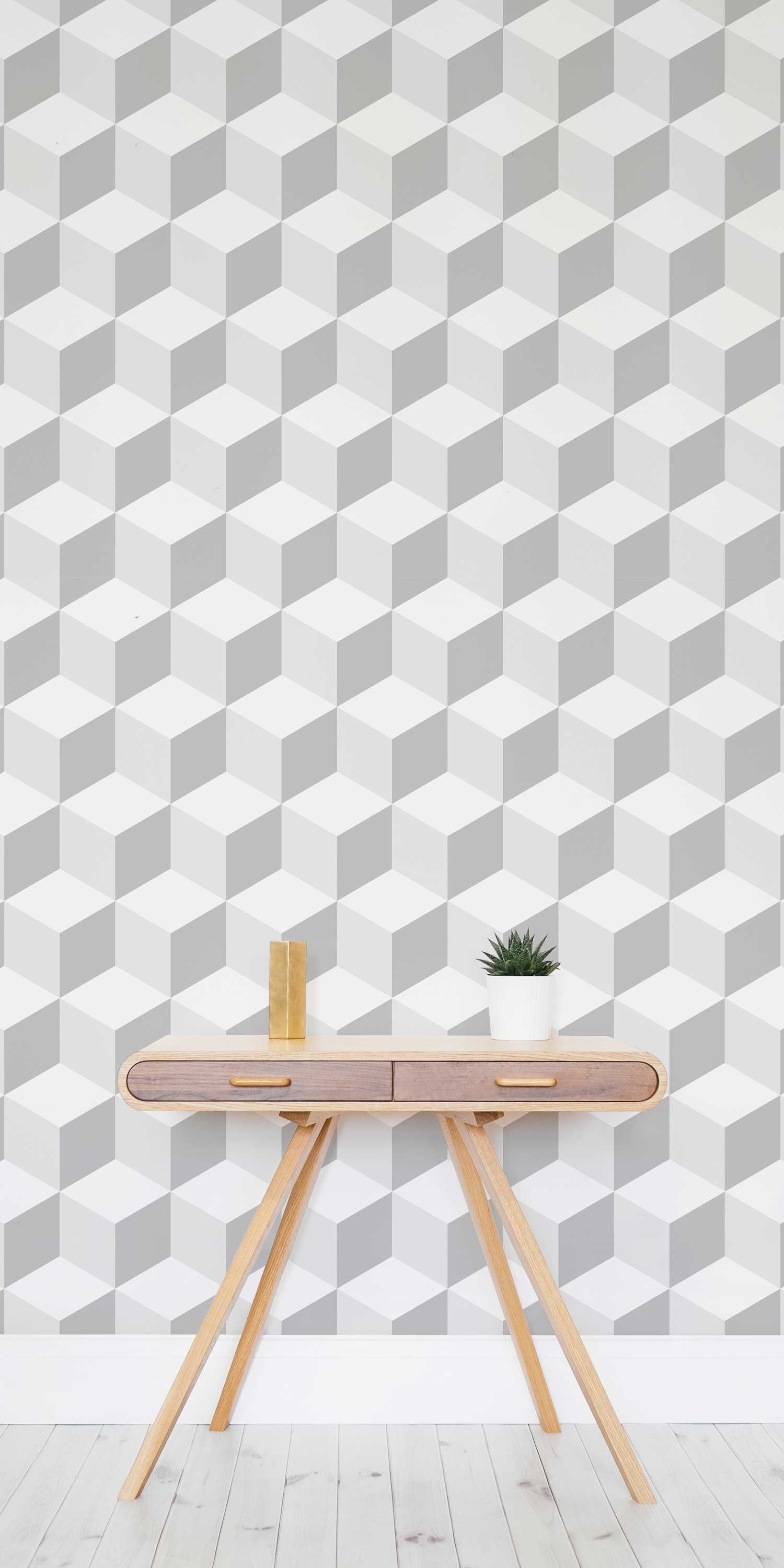 Blues And Greys Together In This 3D Geometric Wallpaper Design