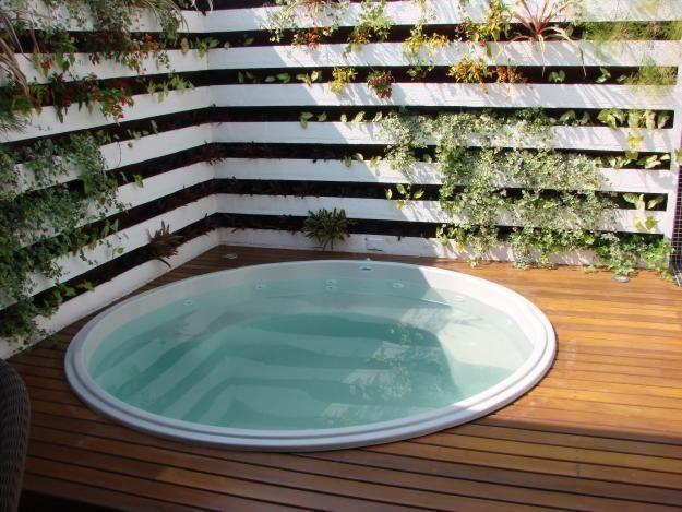 Piscina de fibra pequena redonda com deque de madeira casas pinterest piscina de fibra - Piscina redonda fibra ...