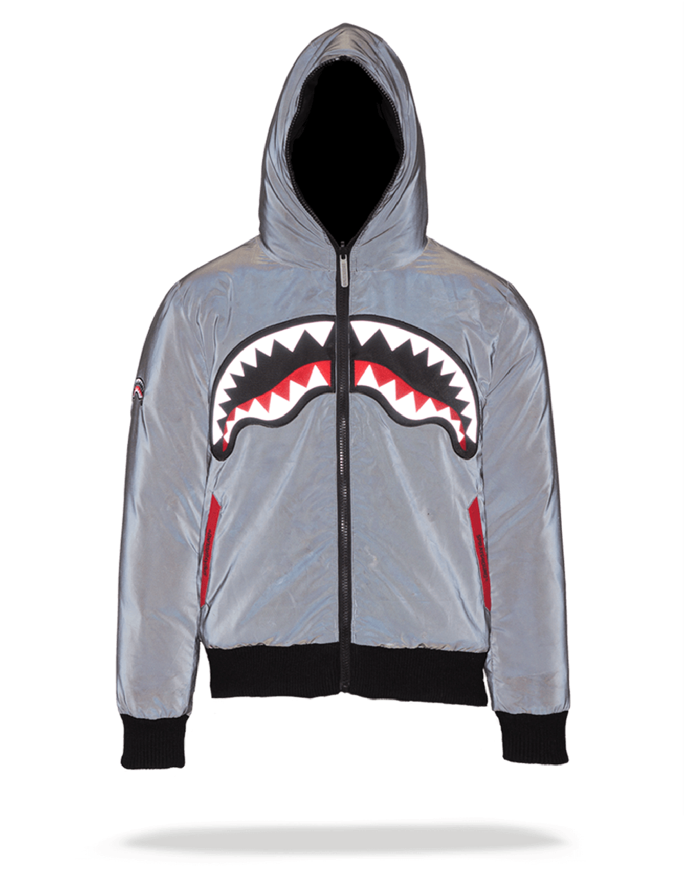 fdea75aaa9c BLACK REFLECTIVE SHARK MOUTH DOWN COAT ADULT (REVERSIBLE)   Sprayground  Backpacks, Bags, and Accessories