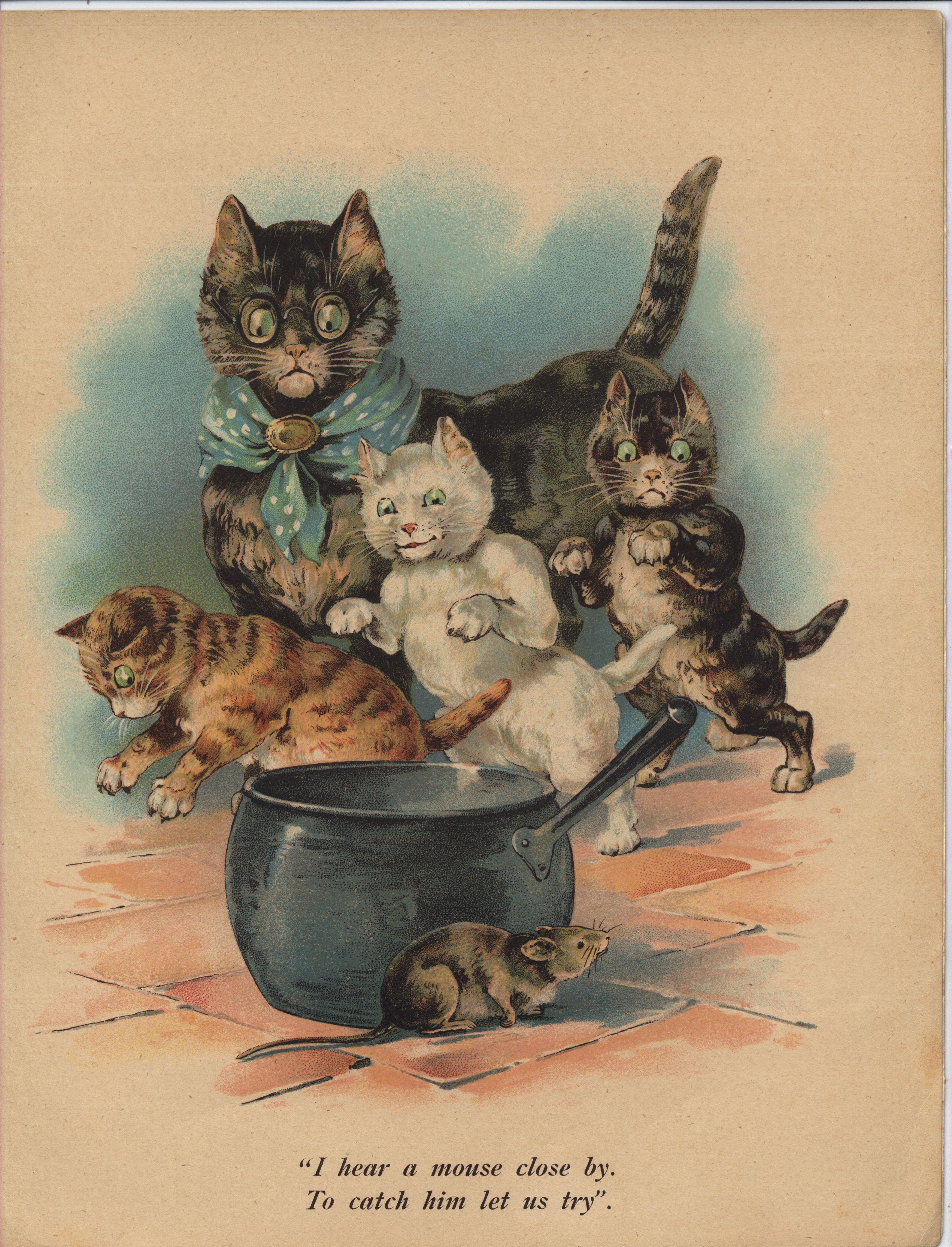 Full Sized Image Three Little Kittens Cats Illustration Storybook Art Cat Art