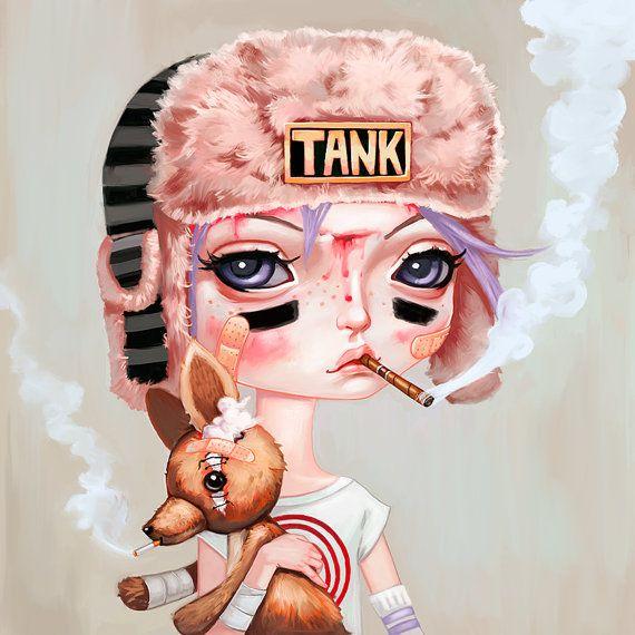 Photo of Tank Girl Art Print – Booga, pop surrealism, big eyes, pastel punk art, pastel grunge art, comic book, lowbrow art, painting 10×10