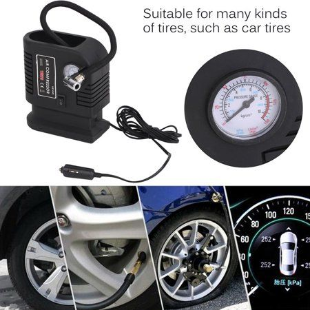 Adapters New Car 12V Electric Tyre Pump Analogue Gauge Air Compressor Inflator