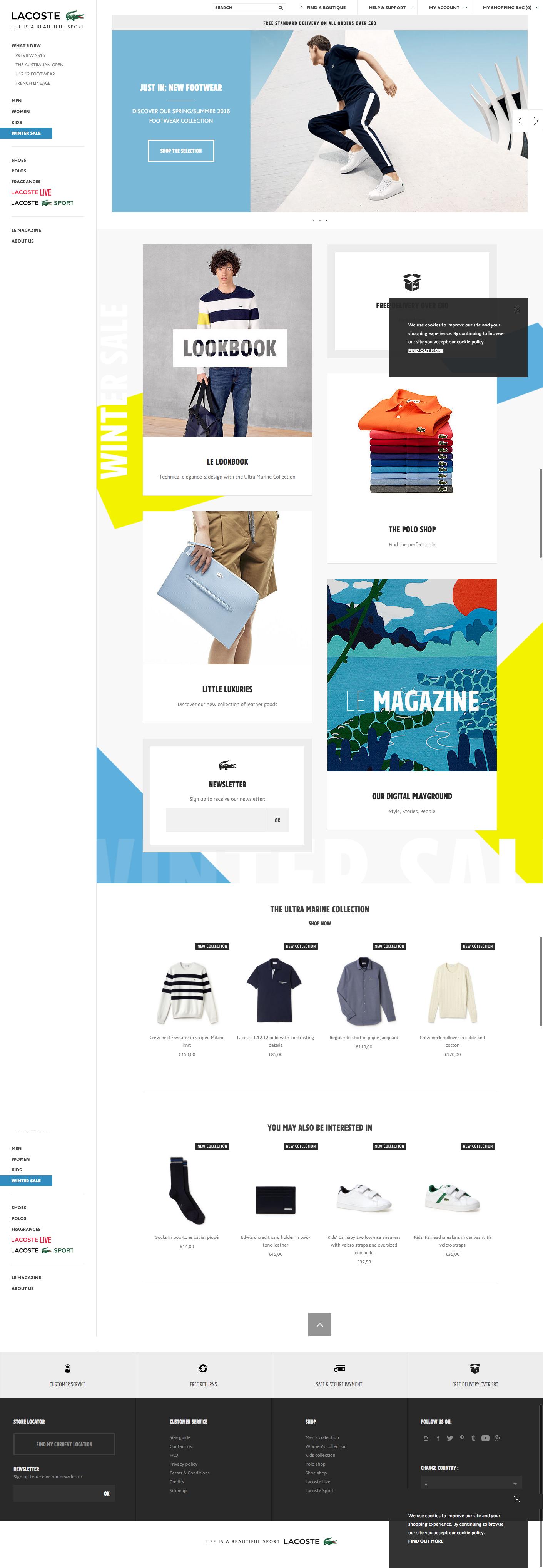 buy online 50041 664dc lacoste website homepage feb 2016 | SPORTSWEAR | Web design ...