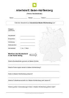 Einen Steckbrief zum Bundesland Baden-Württemberg findet ihr auf ...