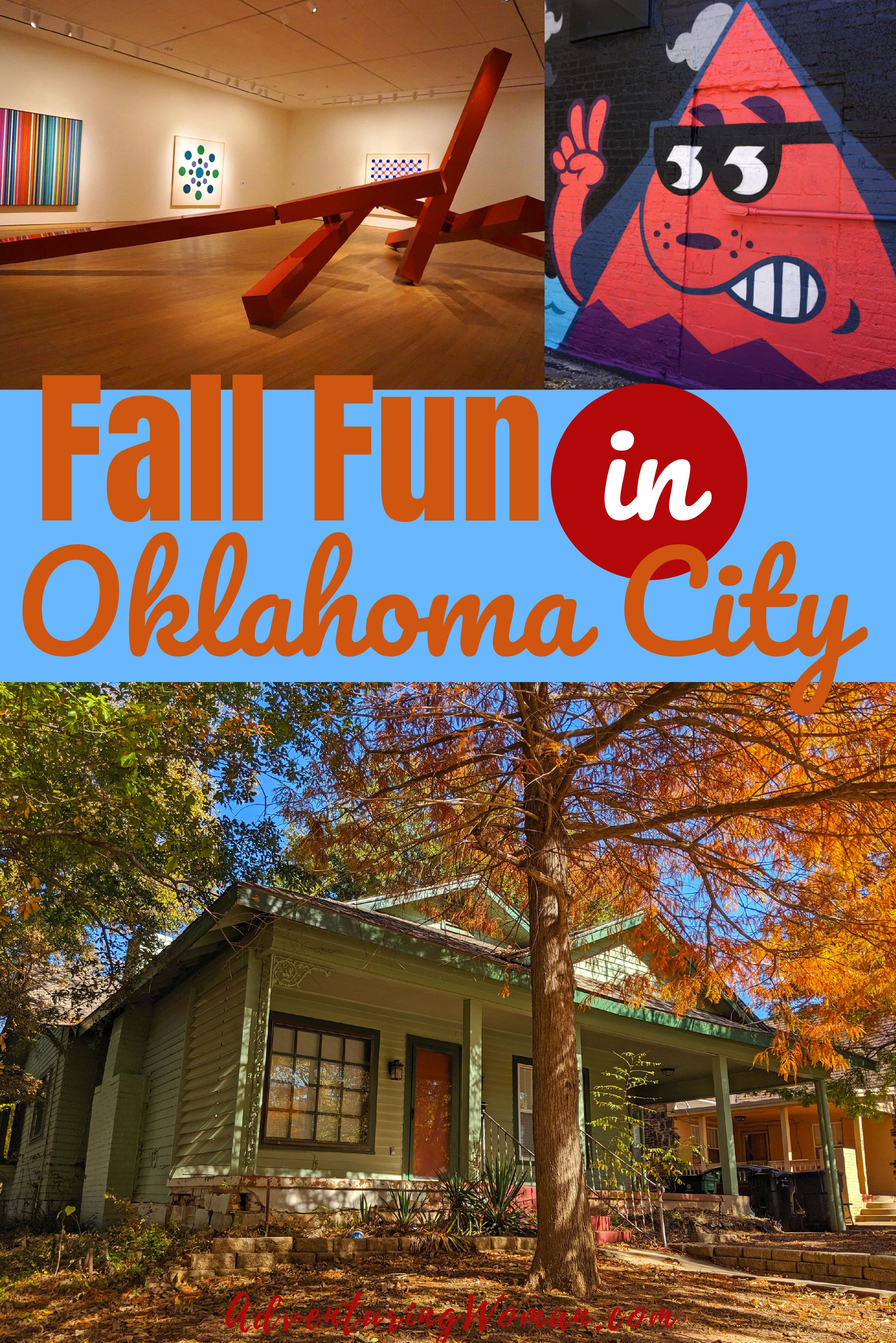 Fall is the perfect time to visit Oklahoma City! I'll share with you some of my favorite Oklahoma City attractions to help you plan your own fall getaway. I visited Oklahoma City last year in early November, and I was there during the peak of fall color. #Fall #Autumn #FallColors #OKC #Oklahoma #OklahomaCity #Travel #CulturalTravel #USA #USATravel #travelblog #AdventuringWoman