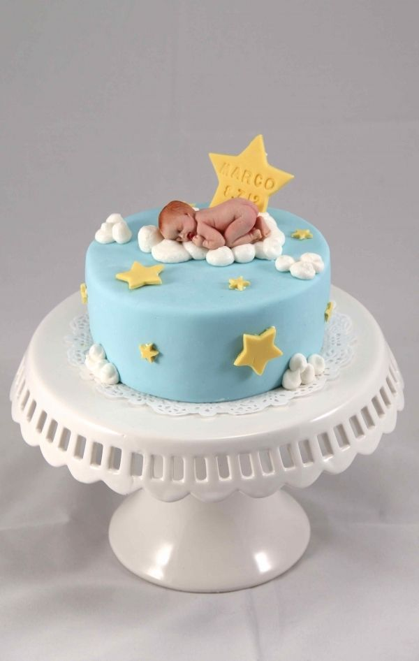Baby On Cloud For One Month Celebration Baby Shower Baby Boy Cakes Angel Baby Cake Cake