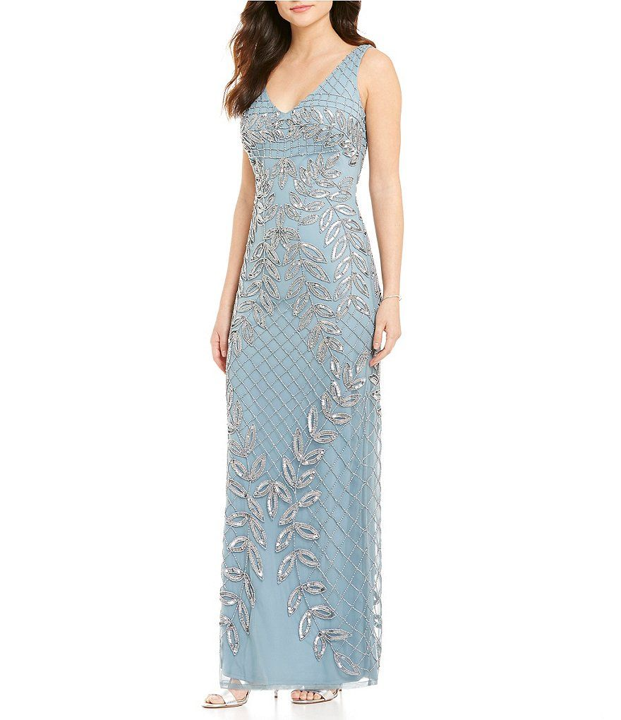 JS Collections V-Neck Sleeveless V-Back Beaded Vine Motif Gown