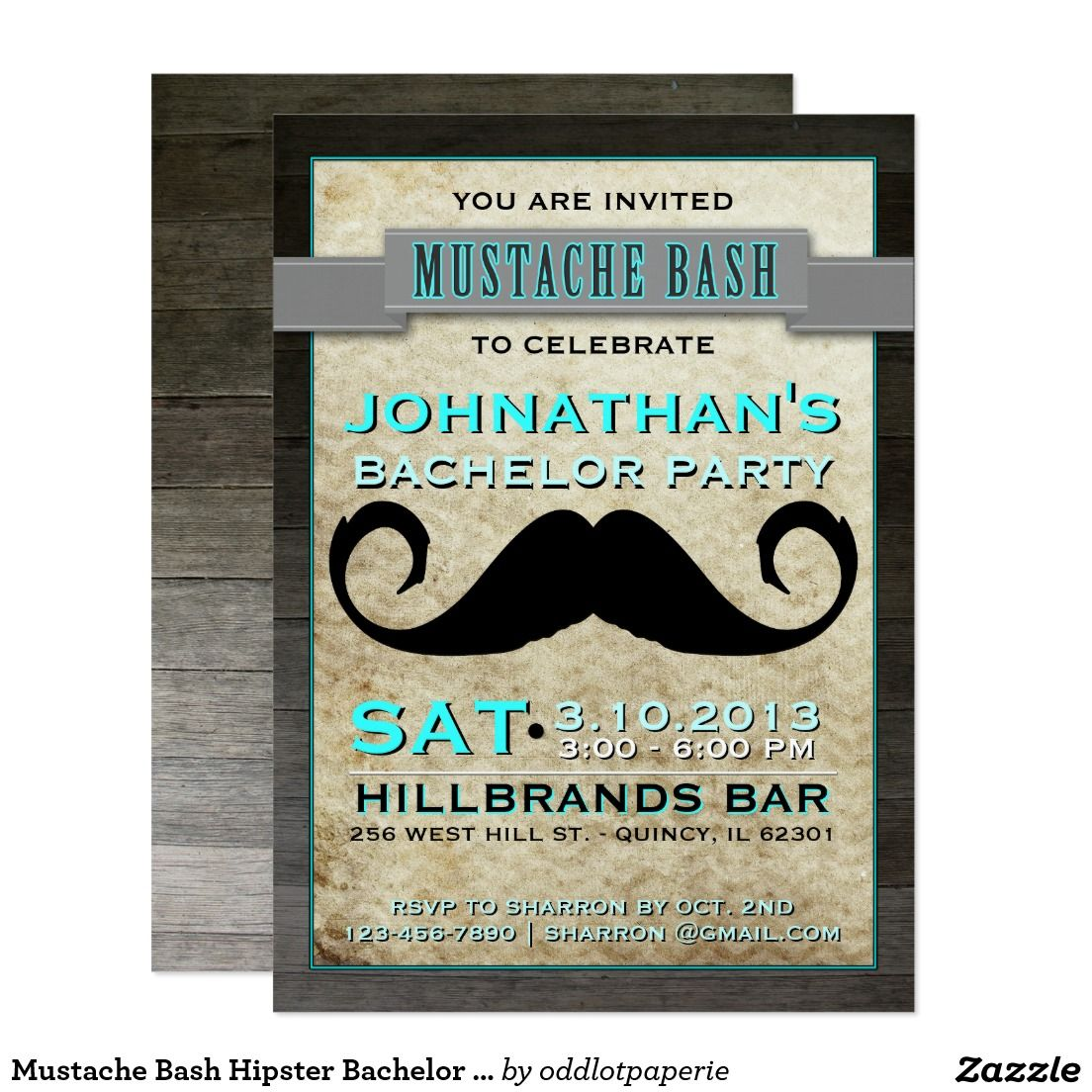 Mustache Bash Hipster Bachelor Party Invitation | Bachelor Party ...