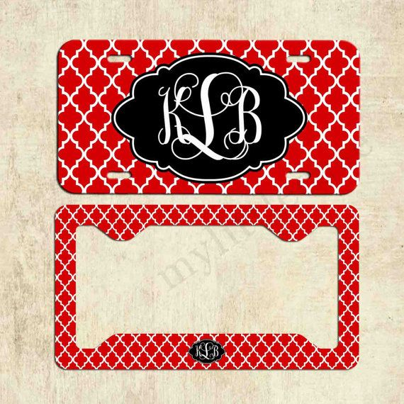 monogram license plate red black quatrefoil license plate frame personalized license plate car tag front plate