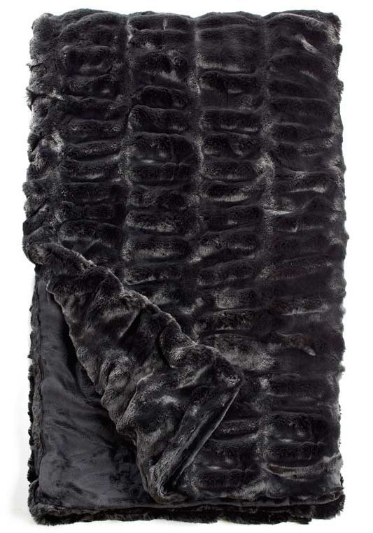 Onyx Mink Couture Faux Fur Throw Blanket
