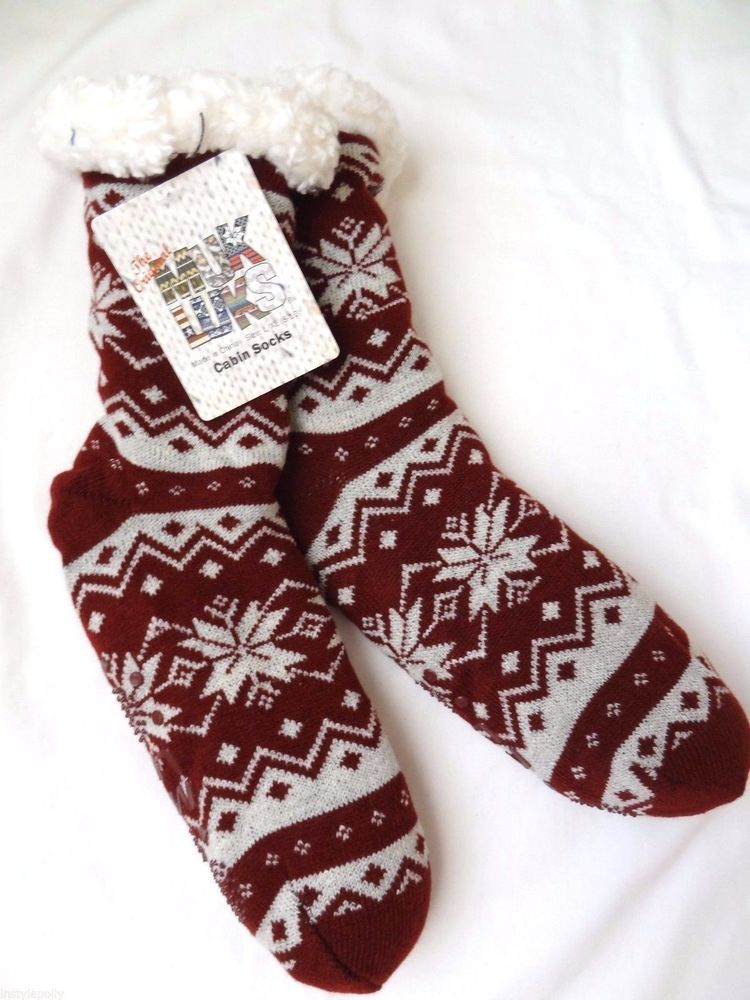 NWT Original MUKLUK Muk Luks Faux Fur Slipper socks Red Fair Isle ...