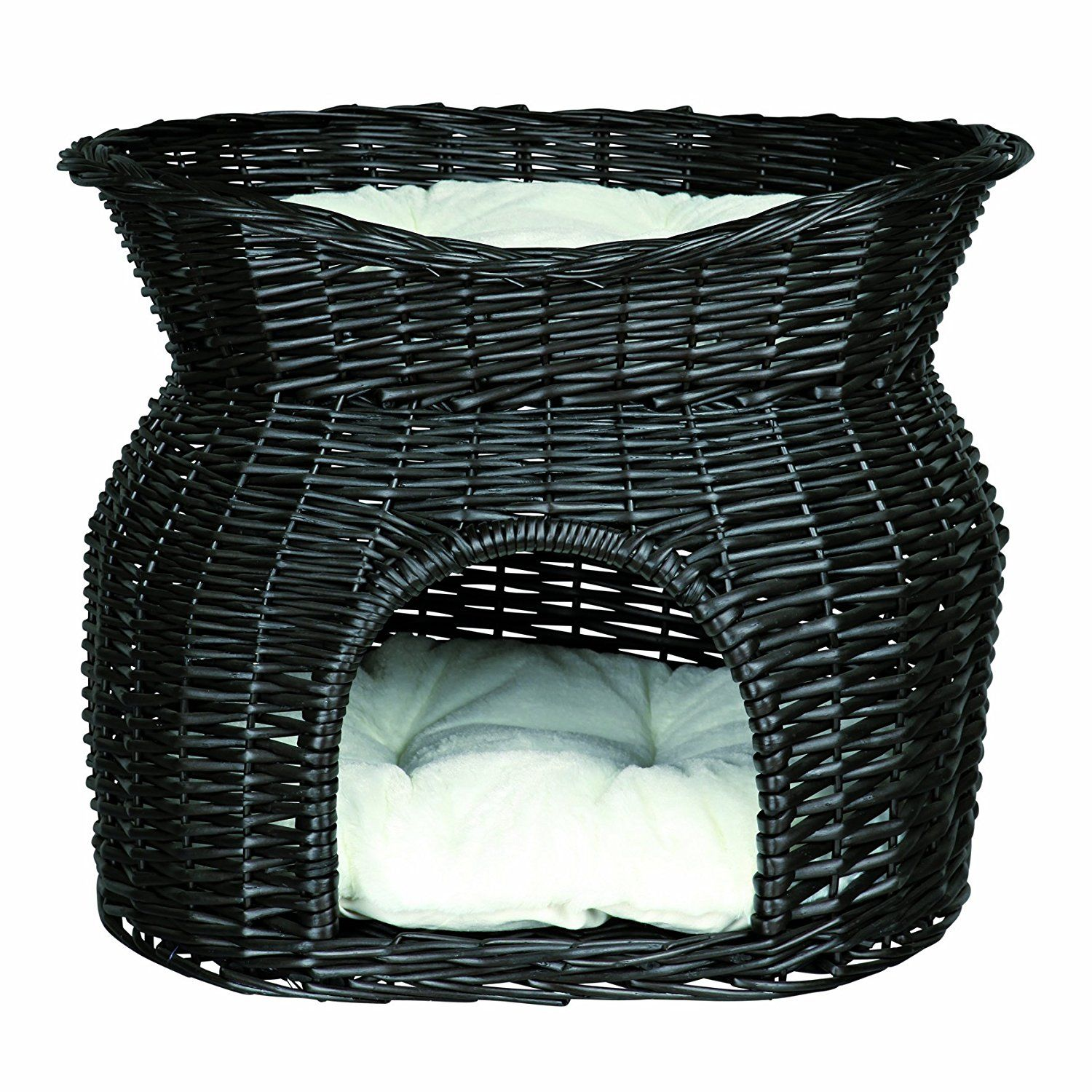 Black Wicker Cave with Bed 54 × 43 × 37 cm Cat bed