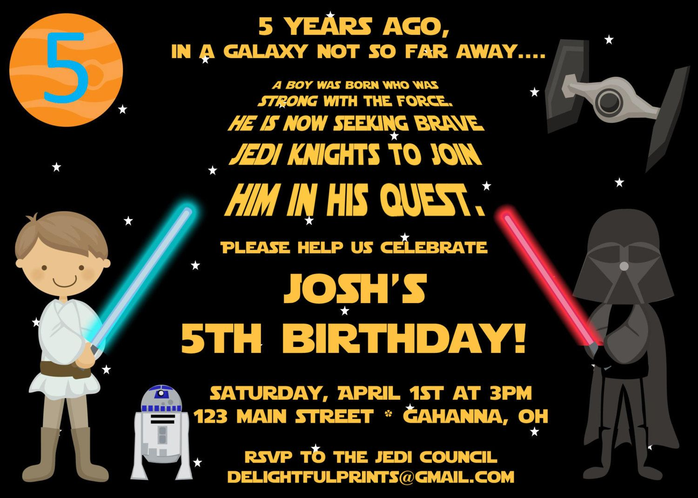 Star Wars Scroll inspired birthday invitation many colors DIY
