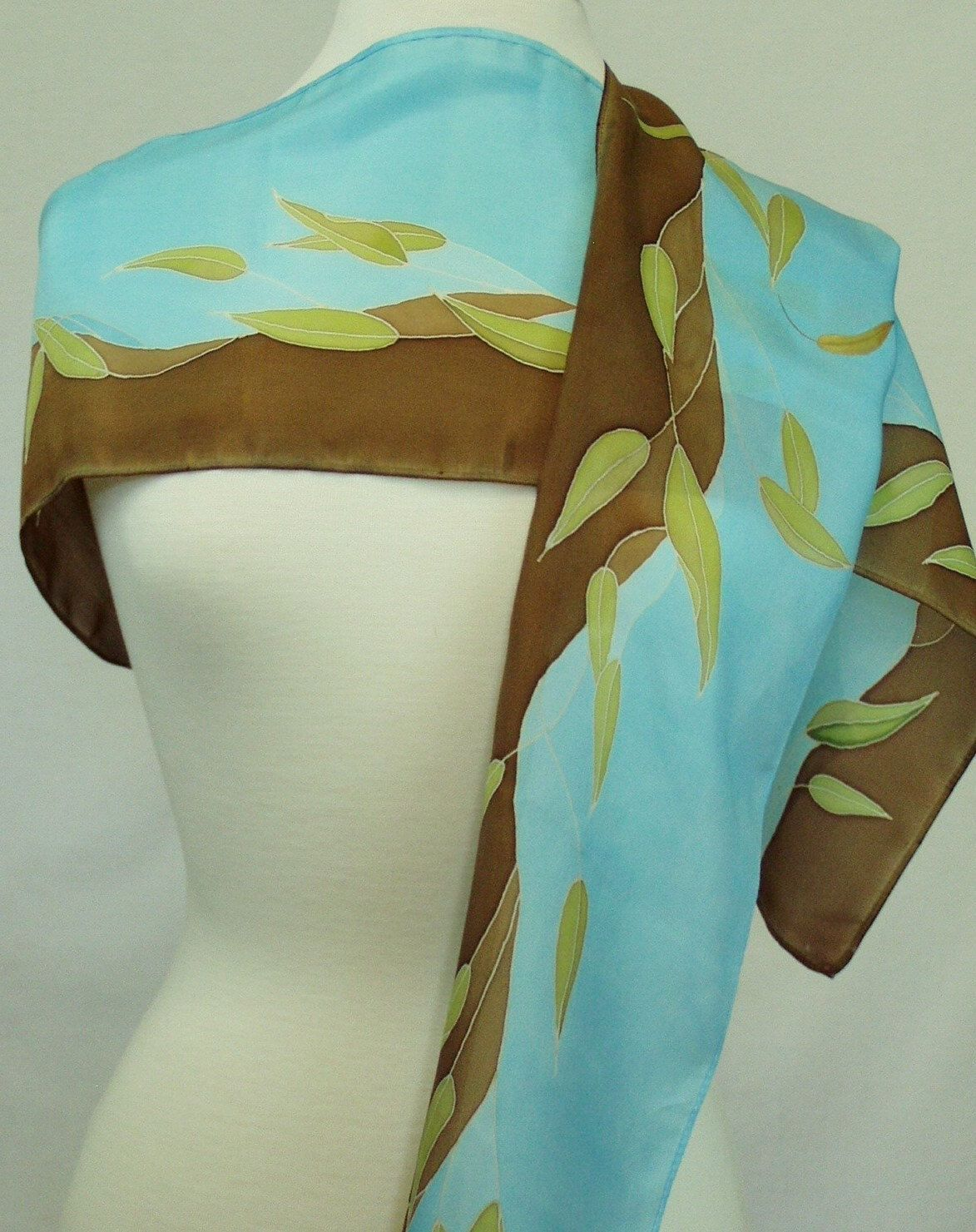Silk Scarf Hand Painted in Olive and Brown