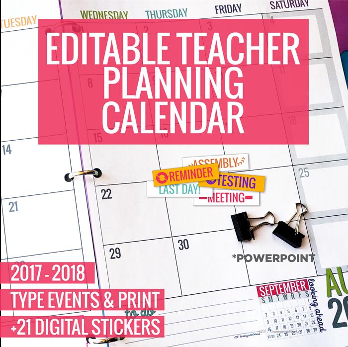 Printable  Teacher Planning Calendar Template  Planning