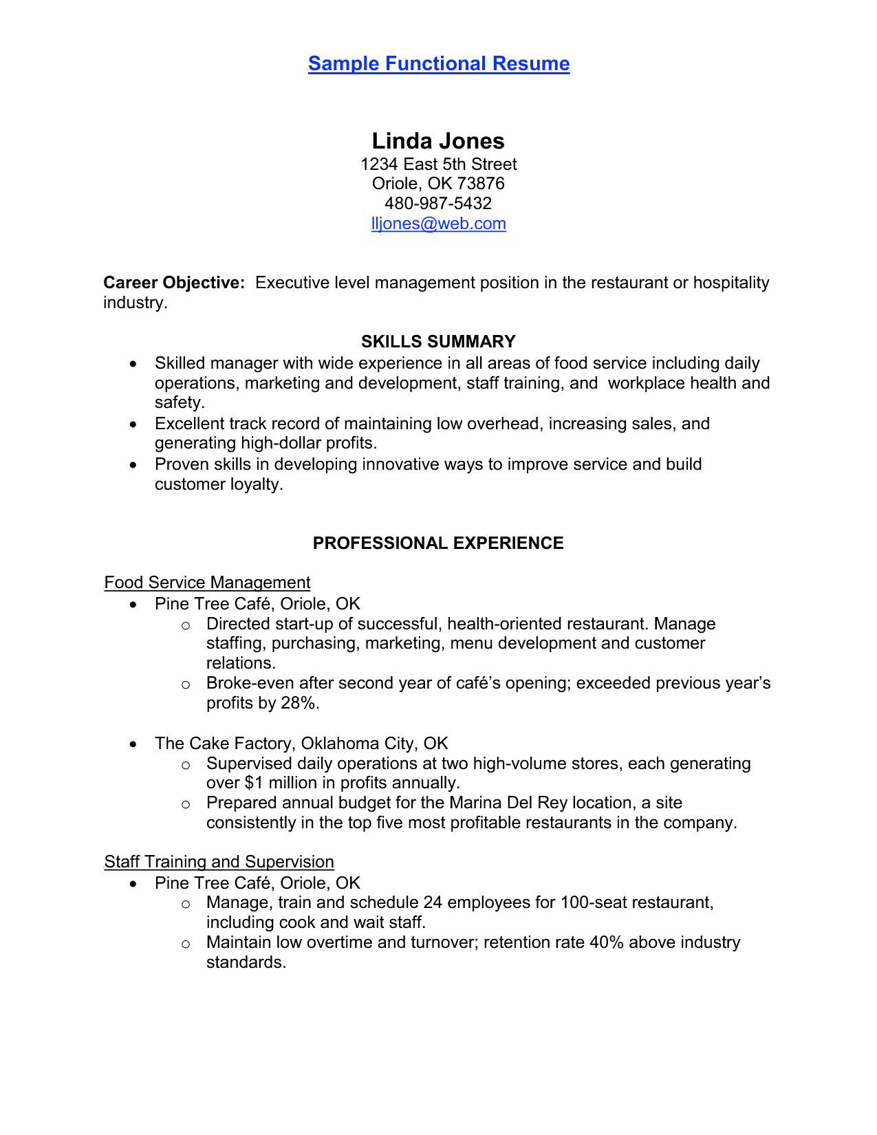 waitstaff resume samples