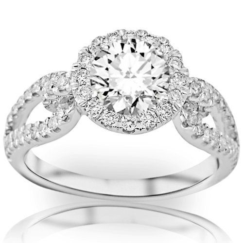 1.85 Carat Halo Style Split Shank Love Knot Diamond Engagement Ring with a Round Brilliant Cut / Shape 1.2 Carat J I1 Center Stone and 0.65 Carats of Side Diamonds Chandni Jewels, http://www.amazon.com/dp/B009GM0KBC/ref=cm_sw_r_pi_dp_2aS2qb0BX2Y51