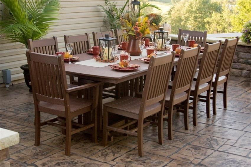 Nice Dutch Crafters, Polywood Mission Style Outdoor Dining Set, 10 Chairs And  Table, 96