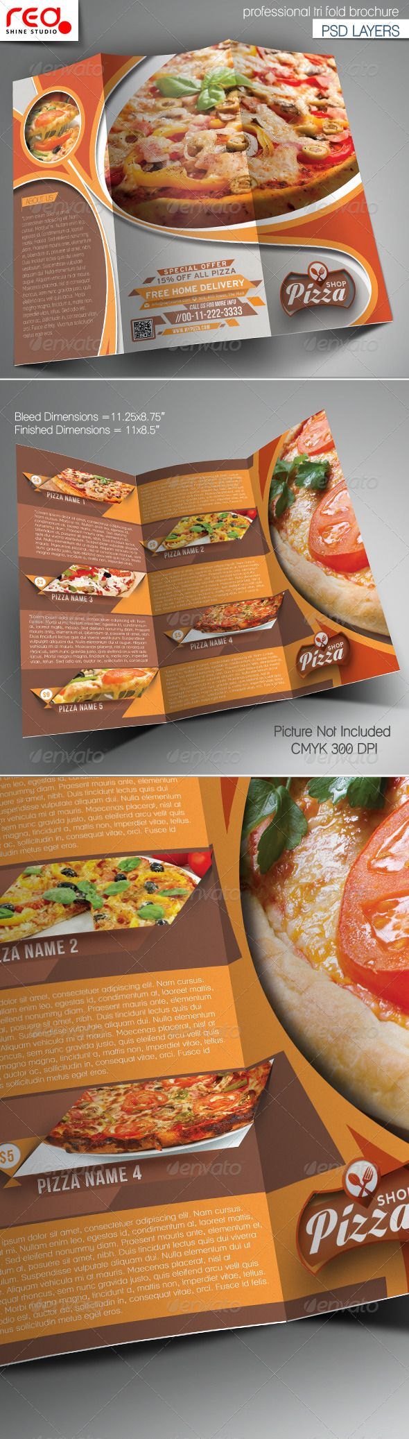 Pizza Shop Trifold Brochure Template  Brochure Template Pizza