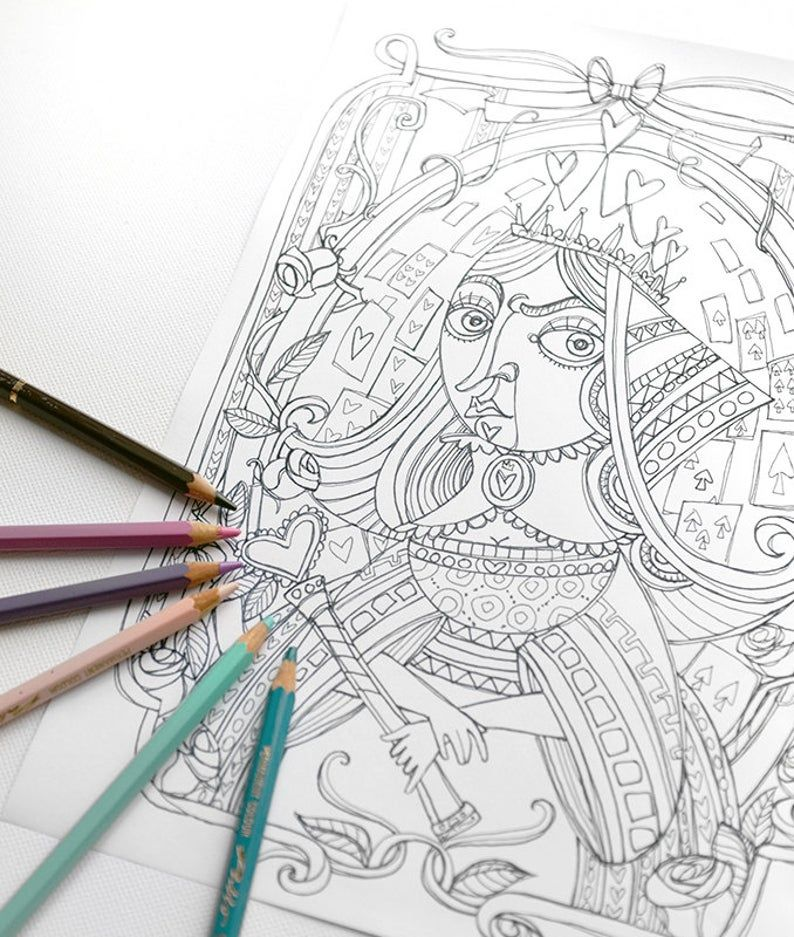 Lewis Carroll PDF Printable A4 Alice in wonderland Coloring book PDF 5 different illustrations Instant download