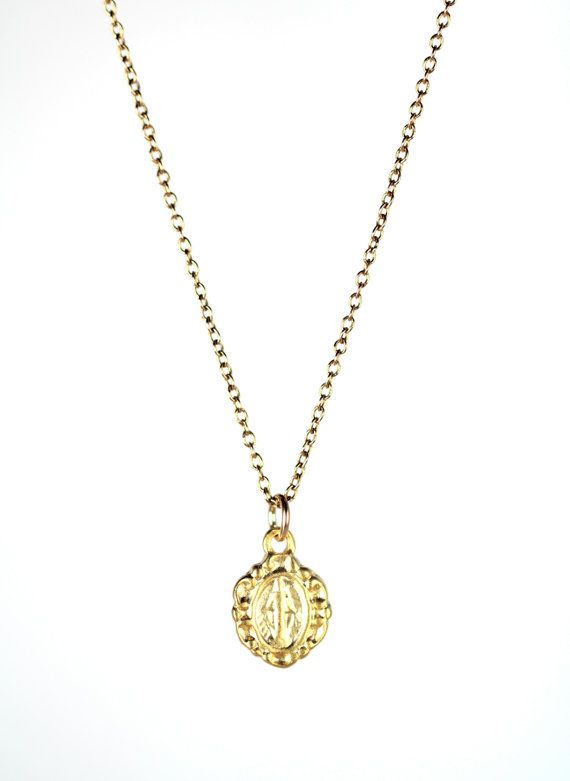 4b6e7c157 Virgin mary necklace - religious necklace - catholic necklace - a tiny gold  virgin mary on a 14k gold filled chain on Etsy, $22.00