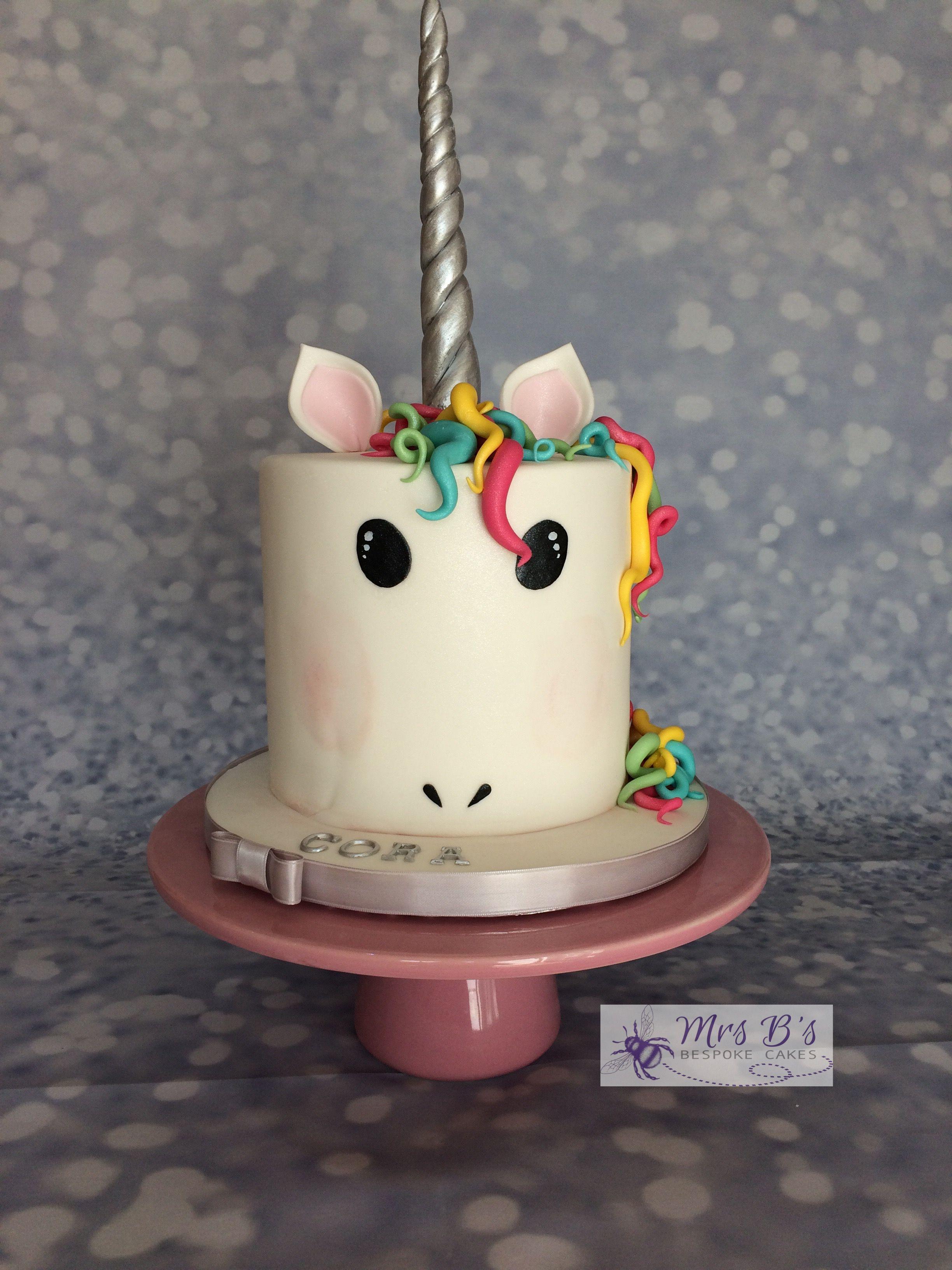 unicorn cake with multicoloured