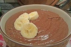 Hirse - Schoko - Creme mit Banane nach meiner Art: 1  Banane   1  EL Kakaopulver   400 ml Milch  etwas Zitronensaft  40  g Hirse  150 g  100 g etwasQuark  Quark Sprudel