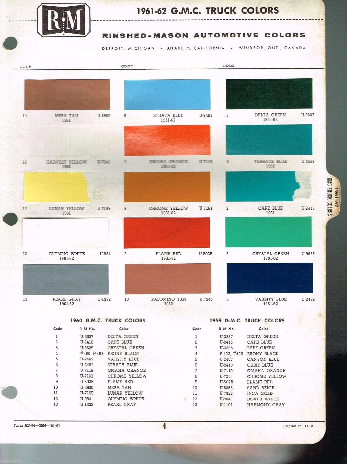 Sample General Color Chart | 1961 1962 Gmc Truck Color Chip Paint Sample Brochure Chart R M