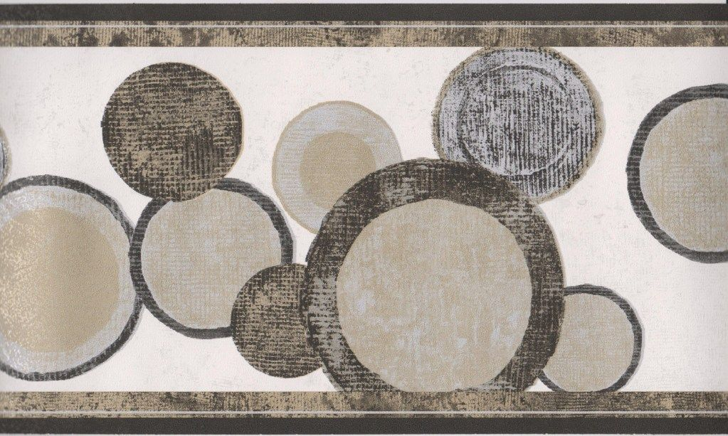 Geometric Wallpaper Border/Black Gold Circles Modern