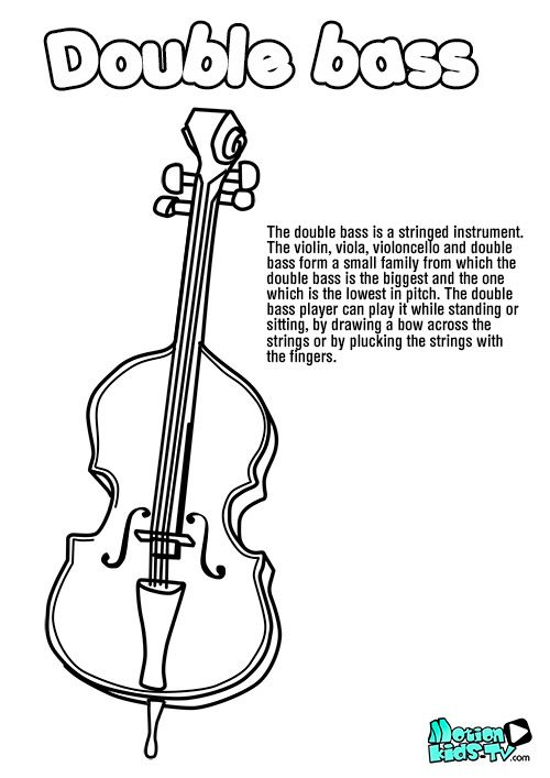 Double Bass Coloring Page Violin Teaching Writing Services