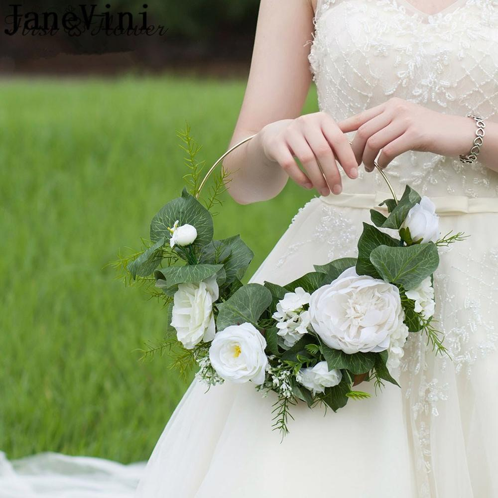 Janevini White Rose Bride Flower Basket Bouquet Artificial Green