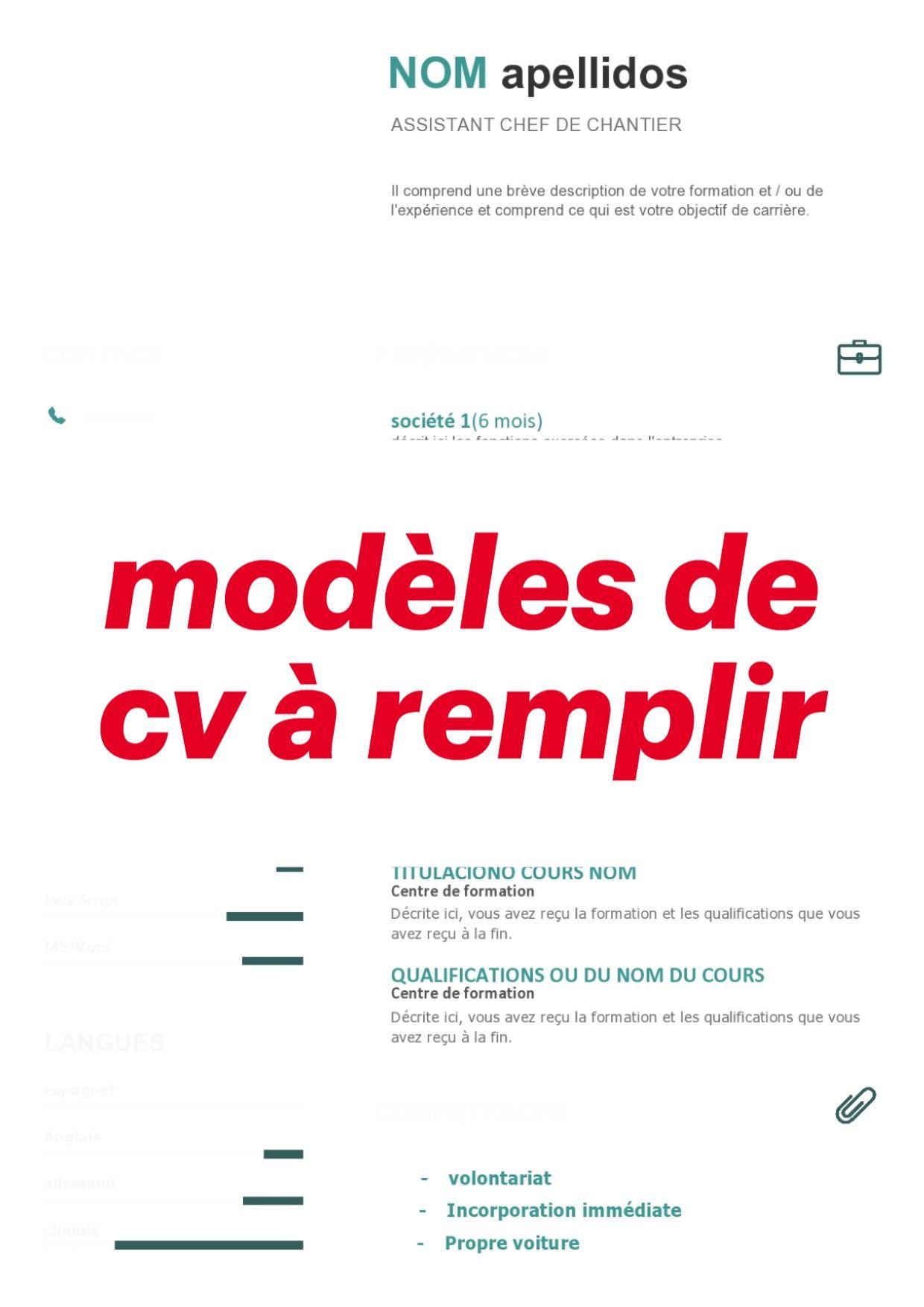 Modeles De Cv A Remplir Au Format Word Modele Cv Modele Cv Gratuit Word Cv A Remplir