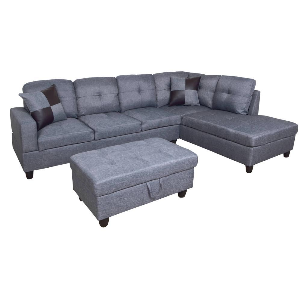 Fabulous Star Home Living Gray Right Chaise Sectional With Storage Machost Co Dining Chair Design Ideas Machostcouk