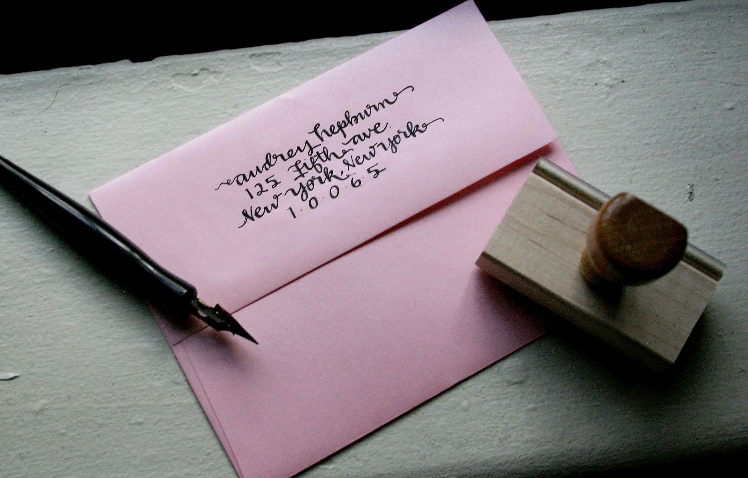 Custom calligraphy stamp with ink pad audrey style by
