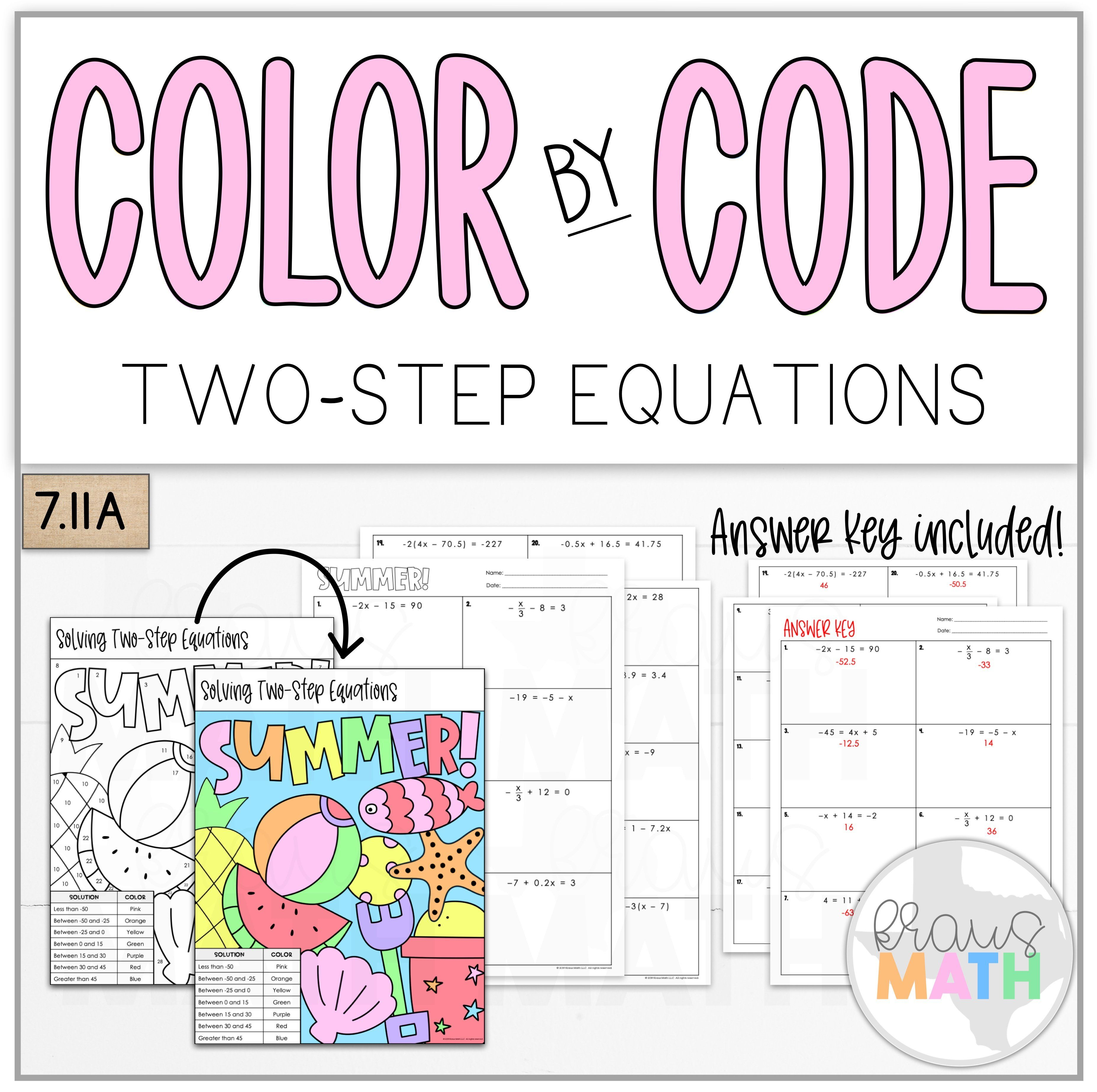 Color By Number Summer Solving Two Step Equations Teks 7