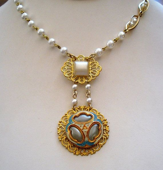 Vintage Enamel and Glass Button Pendant Necklace by joyceshafer