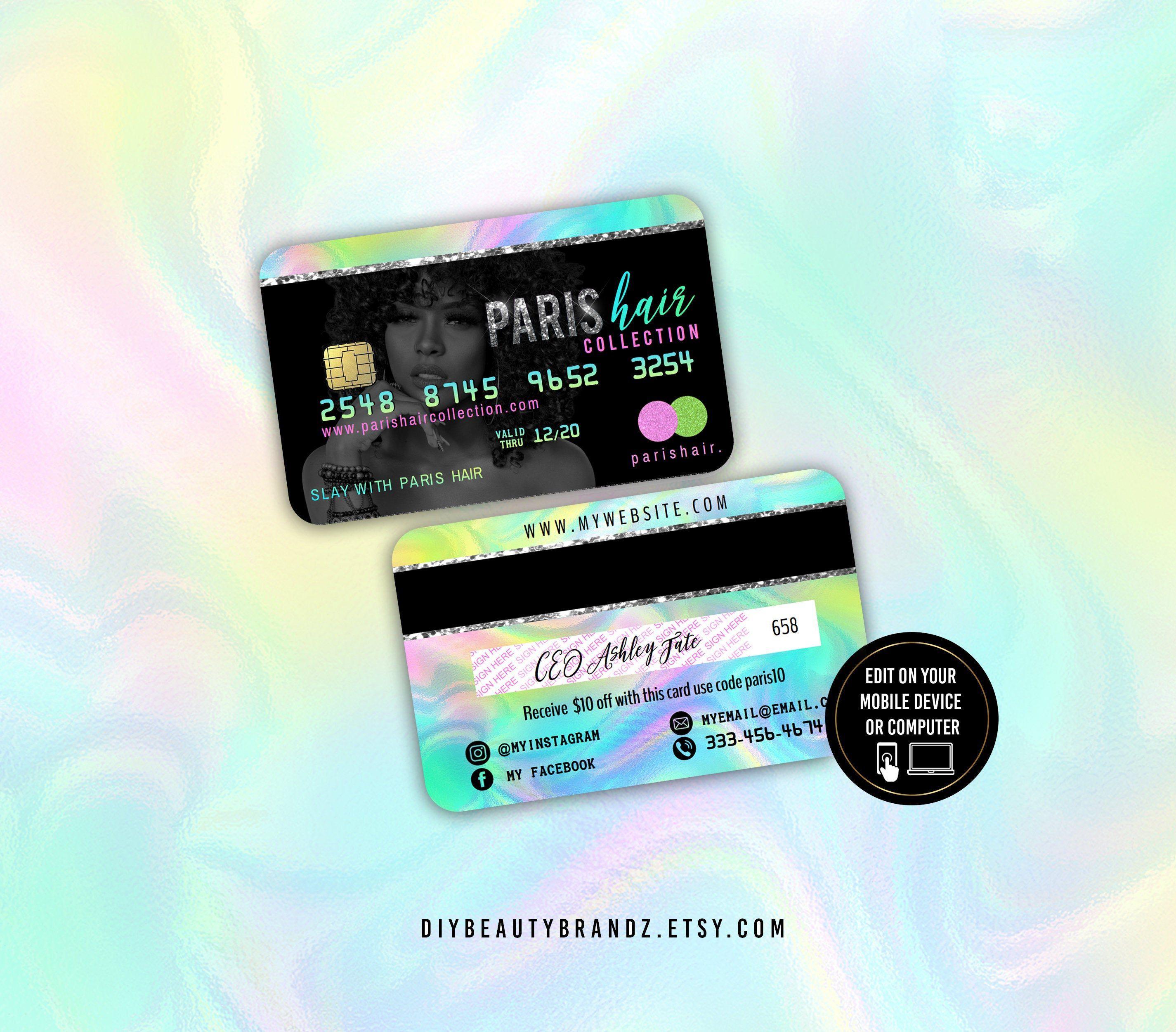 Iridescent Business Credit Card Business Card Credit Card Etsy In 2021 Business Credit Cards Credit Card Design Business Card Template Design