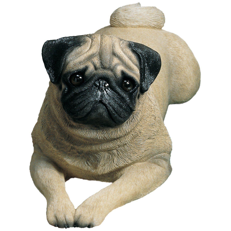 Sandicast Life Size Lying Fawn Pug Dog Sculpture Dog Sculpture