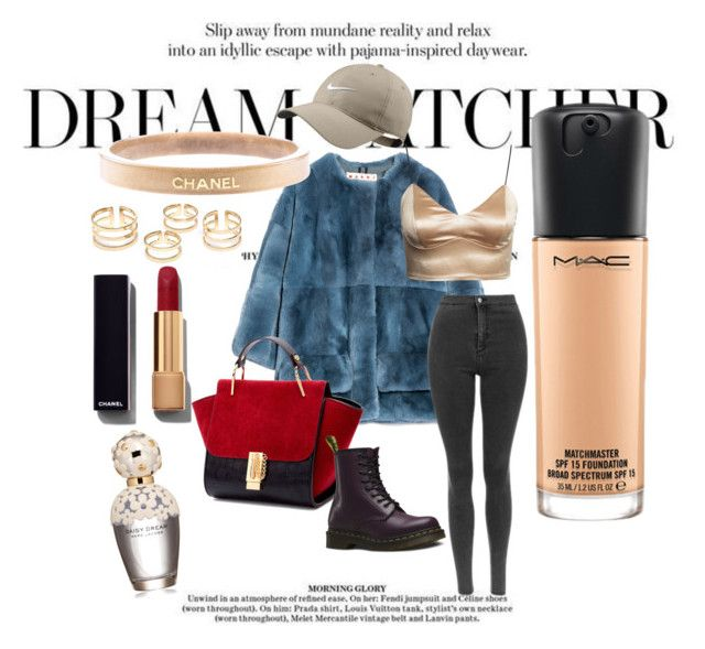 """Sans titre #12"" by chaimasugadollz on Polyvore featuring mode, Marni, NIKE, Dr. Martens, Chanel, Marc Jacobs, MAC Cosmetics, women's clothing, women's fashion et women"