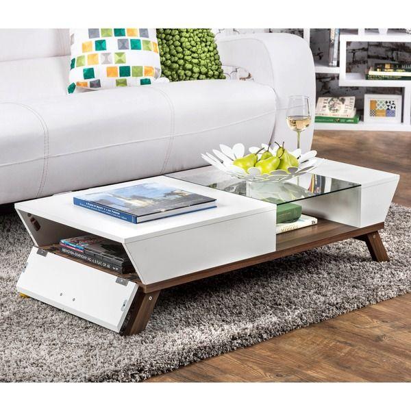 Furniture of America Kress Glass Insert Coffee Table furnicher - mesas de centro de diseo