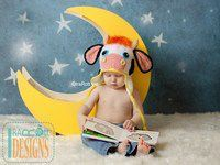 Cow or Bull Animal Hats with Horns Crochet Pattern for boys and girls of all ages by IraRott