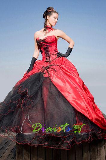 eBay | Neuf rouge noir taffetas robe de marié