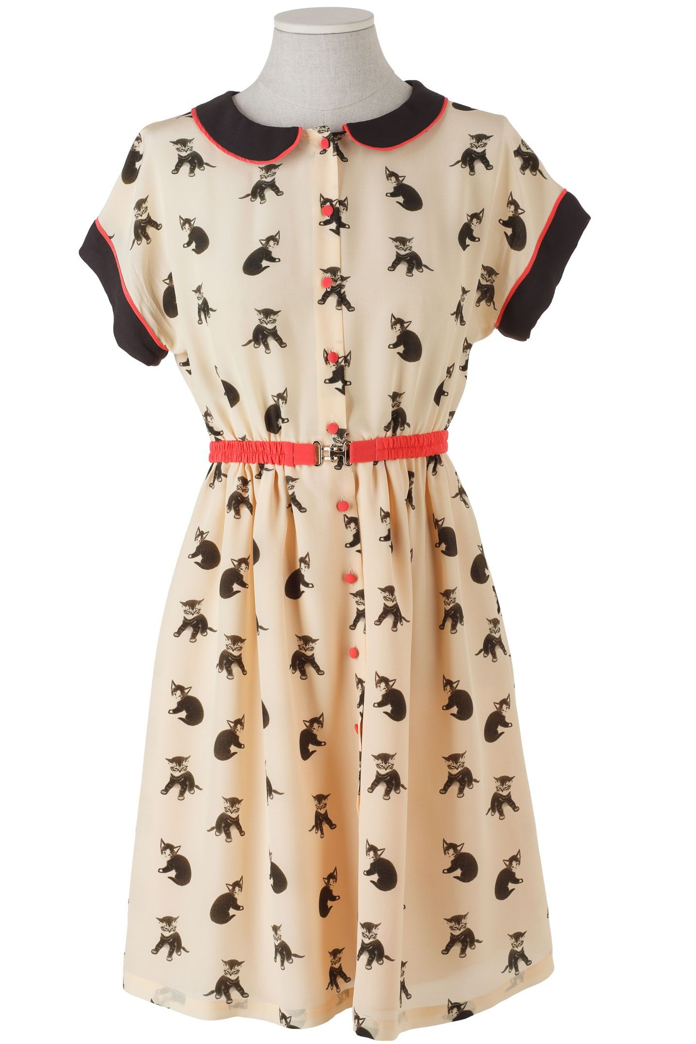 Abito Chemisier in seta con gattini cute cat print dress