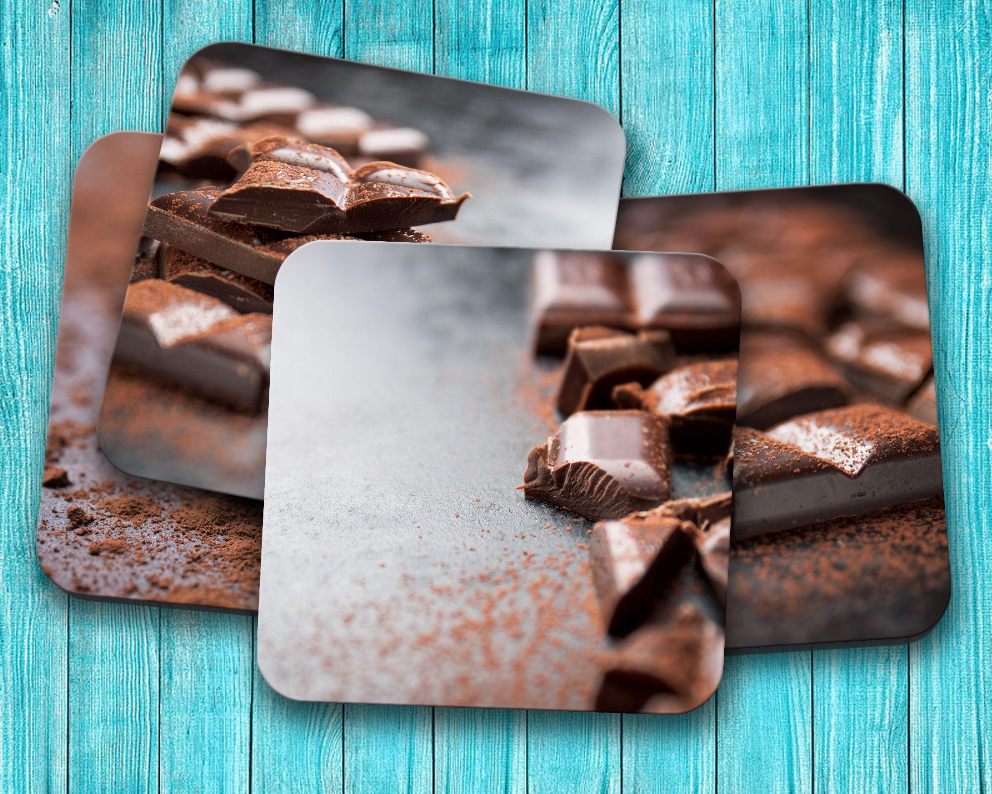 Chocolate Coaster Set, Chocolate Bar Furniture Drink Coaster Set, Housewarming