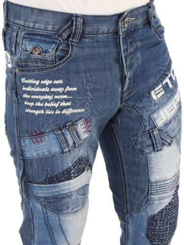 cf318875 Mens Designer ETO Jeans EM 450 Straight Leg Denim Regular Fit Funky Bar  Bottoms