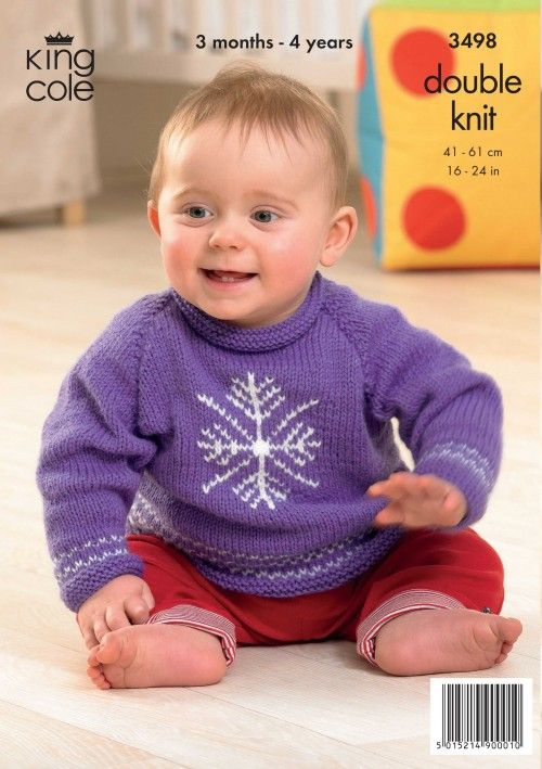 Baby Toddler Christmas Knitting Pattern Christmas Snowflake Jumper